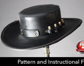 Leather Hat PATTERN - DIY Pattern - Steampunk hat DIY - Pdf Download - Plague Doctor Hat