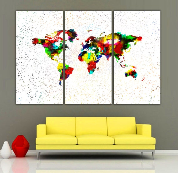 Colorful paint world map 3 panel split canvas gumiabroncs Image collections