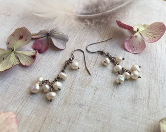 Freshwater Pearls and Silver Dangle Earrings, Rustic Pearl Dangle Earrings