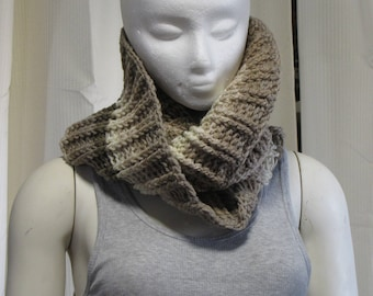 Ribbed Double Wrap Cowl - Crochet