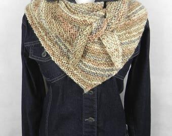 Triangular scarf SCHALTUCH wool hand Knitted