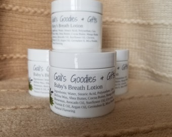Baby's Breath Lotion, Floral Scent, Body Lotion, All Natural Skin Care, Moisturizer, Hand Cream, Foot Cream, Hand Lotion