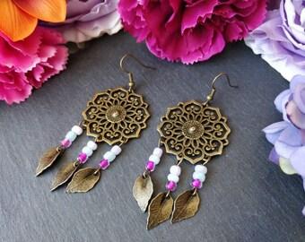 Pink, Blue & Purple Mandala Dream Catcher Boho Earrings. Beaded Earrings. Boho Jewelry. Statement Earrings. Hippie Gypsy Beaded Earrings.