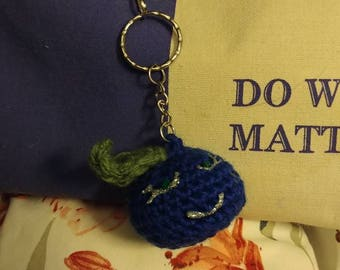 Crocheted Blueberry Keychain Zipper Charm