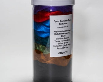 Dyed Bamboo Fiber Sampler, Spinning Fiber, Gift Pack For Spinner's, Silk Fusion Fiber, Blending Fiber, Dyed Bamboo Top