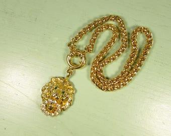MOD Lion Door Knocker Necklace - Vintage Chunky Gold Tone Green Eye Rhinestone