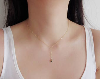 Short Lariat Necklace, dainty necklace, Y necklace, gold filled necklace, simple necklace, layering necklace