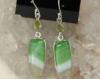 Pretty Green Botswana Agate  and Peridot Earrings