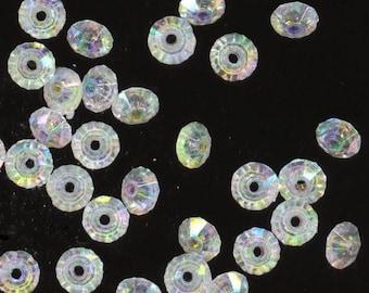 Iridescent Beads. Crystal Acrylic Rondelles 6 mm . 140 pieces -  DESTASH by enchantedbeas on Etsy