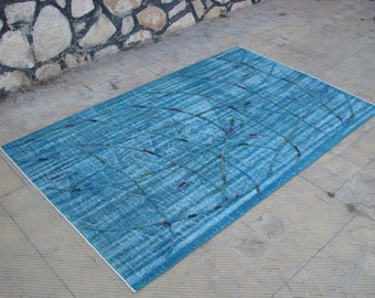 Turkish POMPOM Rug , Vintage Rug Relief , Oushak Turquoise Area Rugs , 64  x 103 inches