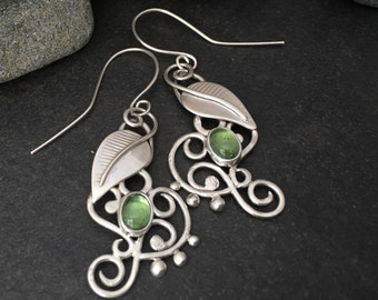 Green tourmaline and sterling silver leaf earrings, flowing and delicate individually handcrafted leaves and tendrils, vines