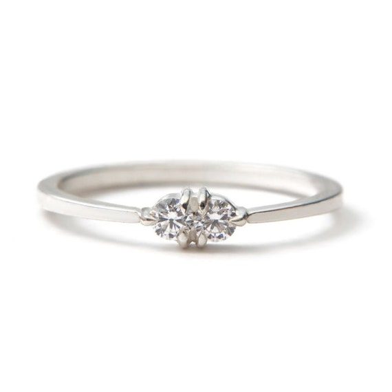 White gold diamond Toi et Moi ring vintage inspired but with