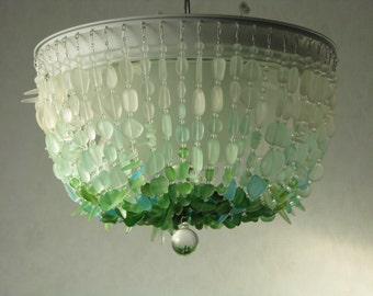 Sea glass chandelier ceiling fixture foyer light coastal sea glass chandelier ombre flush mount coastal decor beach glass ceiling fixture the rockaway beach aloadofball Gallery