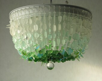 Glass chandelier etsy sea glass chandelier ombre flush mount coastal decor beach glass ceiling fixture the rockaway beach aloadofball Gallery