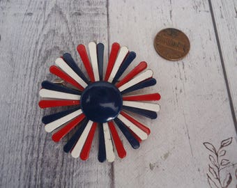 Vintage Enameled Flower Brooch, Red, White and Navy Blue