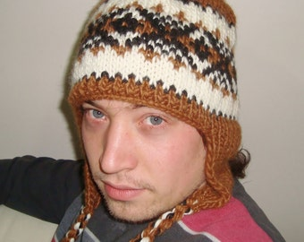 Mens Knit hat - Winter Brown/Cream Hand Knit Hat, mens hat with ear flaps