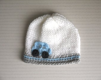 Cap 3/6 months old baby boy white gray blue clear car