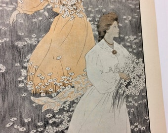 Antique vintage 1900s art print illustration beautiful women picking daisy flowers  pastel orange black white shabby chic decor book page