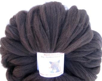 Black Alpaca Merino Roving /Top, Spinning and Felting Fiber 2 ounces