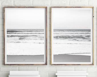 Set of 2 Ocean Waves Art Print, Beach Photography Print, Ocean Print, Ocean Wall Art, Black and White, Water Print, Ocean Art, #215