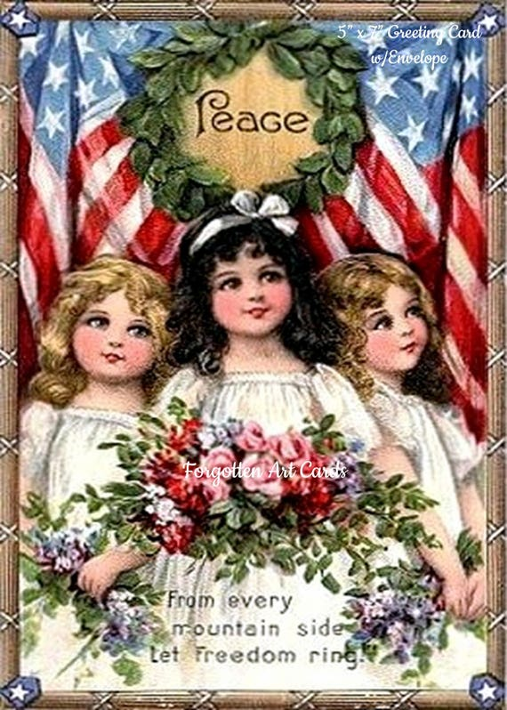"3 Pretty Girls Declare PEACE, 5""x7"" Greeting Card, Envelope, From A Vintage Victorian Postcard, Forgotten Art Card, Pretty Girl Postcards"