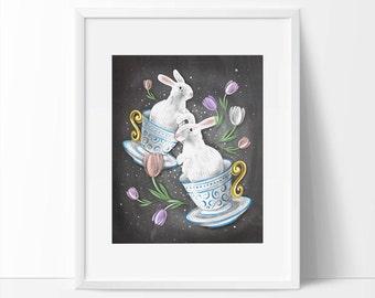 Easter Printable, Bunny Wall Art, Easter Art, Easter Printable Wall Art, 5 x 7, 8 x 10, Bunny Art Easter, Spring Art, Spring Wall Art.