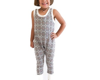 Boho Tiled Romper 6m-6/7y. Brown Sugar Beach