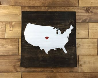 Pick Colors, United States Map Wood Sign, Map Sign, Travel sign, Travel art, Map decor, Map art, State sign, US Map, US wood sign
