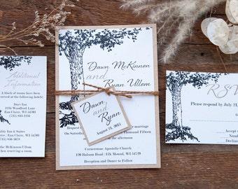 Rustic Wedding Invitation, Vintage Wedding Invitation, Tree Wedding Invitations, Barn Wedding Invitation, Country Wedding Invitations