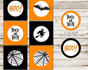 Halloween Party Favor Tags, Halloween Cupcake Toppers, Halloween Squares, Halloween Printables, Halloween, Trick or Treat, DIGITAL FILE ONLY