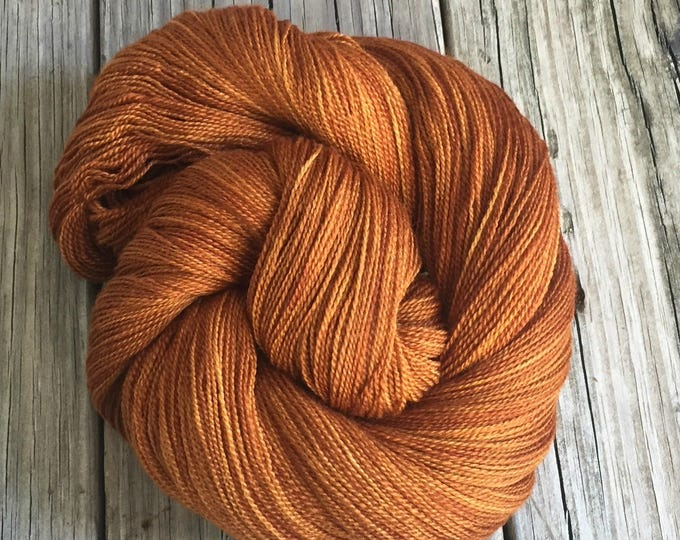 hand dyed lace weight yarn Copper Cove Silk Treasures Lace yarn merino silk 875 yards hand dyed yarn orange rust pumpkin spice warm