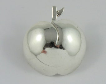 Sterling Silver Small Apple Brooch