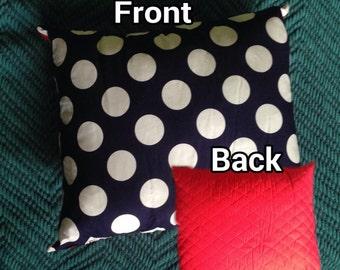 Red, White & Navy Polka Dot Pillow