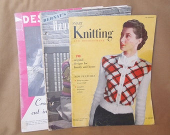 Vintage 40's Knitting Pattern Books, Set of Three, Knit Patterns for Men, Women, Children, Baby, Set A