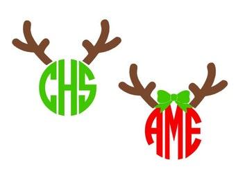 Reindeer Antler digital download cutting files for cutting machines - SVG DXF EPS ps Studio3 Studio (monogram fonts sold separately)