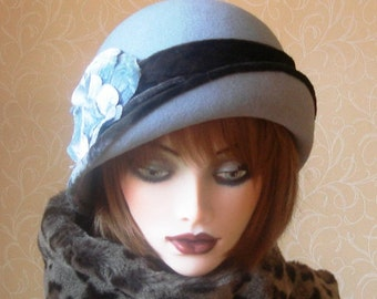 Amelia, blue-grey felt cloche