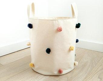 Storage Basket. Laundry Basket. Fabric Basket. Laundry Hamper. Toy Storage. Toy Basket. Kids Storage. Home Decor. Pom Pom Storage Basket