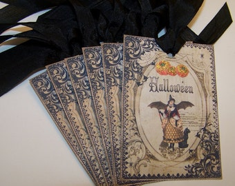 Halloween Tags Witch and Black Cat Tags Vintage Style Set of 6 or 9