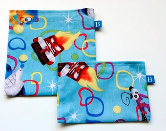 Reuseable Eco-Friendly Set of Snack and Sandwich Bags in Inside Out Movie Fabric