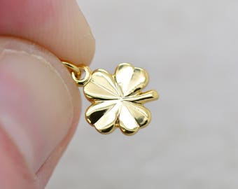 Four Leaf Clover Charm 24K Gold Plated Brass Clover Charm Minimal Good Luck Pendant Jewelry Making Supplies (AT151)