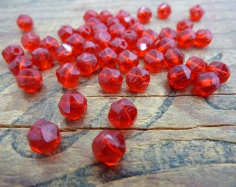 Vintage Glass Bead English Cut 5mm Glass Bead Siam Red (50) EW126