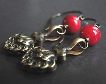 SALE Ruby Red Dangle Earrings, Women's Earrings, Handmade Jewelry, Accessories, Gemstone Earrings, Brass Ruby Earrings