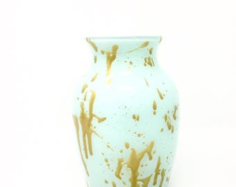 Mint Green and Metallic Gold Vase // Hand Painted Glass