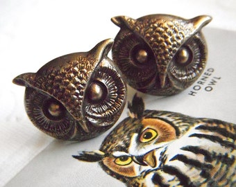 Owl Cufflinks BIG & Bold Gothic Victorian Steampunk Style Vintage Inspired Men's Accessories Large Size Brass Owl Cuff Links Men's Cufflinks