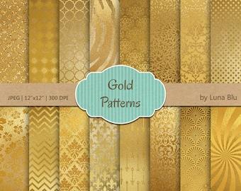 """Gold Foil Digital Paper: """"Gold Patterns"""" gold foil patterns, metallic gold backgrounds, Gold Scrapbook Paper, Gold Foil Paper, Gold textures"""