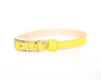 Cat or Small Dog Collar // Electric Yellow // Optional ID Tag