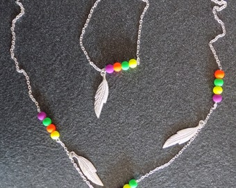 Set silver and flashy, Phoenix pendant