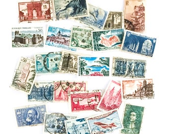 25 x used vintage French postage stamps, all different, off paper - France Francaise - for journal, stamp collecting, scrapbooking, crafts