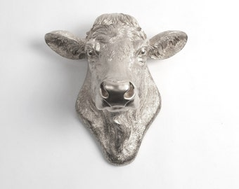 Cow Head Decor by White Faux Taxidermy - The Bessie in Silver - Cow Head Wall Mount - Farm Animal Decorations - Cattle Farmhouse Decor