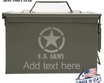 U.S. ARMY With Star Custom Engraved 30/50 Cal Ammo Can Personalized Dad Gift Cool Guy Gifts Father's Day Gift Grandpa Gift Groomsmen Hunter